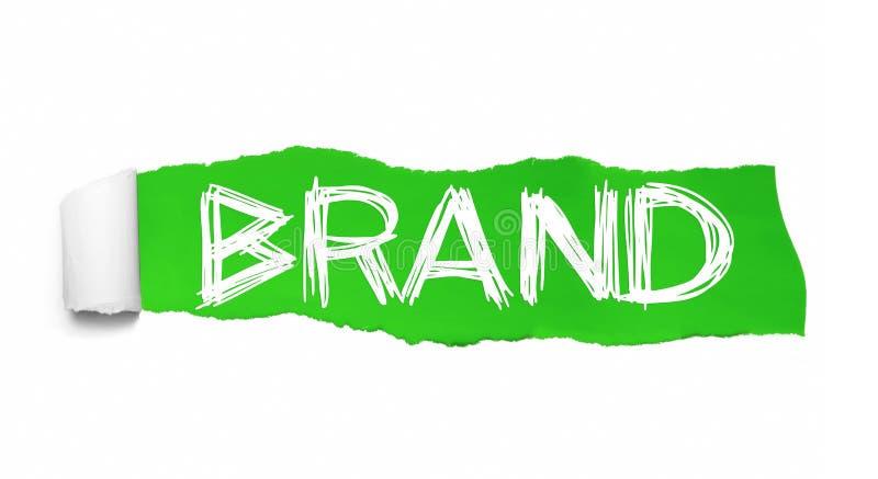 brand Collage de la palabra que aparece detrás del papel rasgado verde libre illustration
