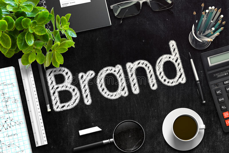 Brand Concept on Black Chalkboard. 3D Rendering. stock images