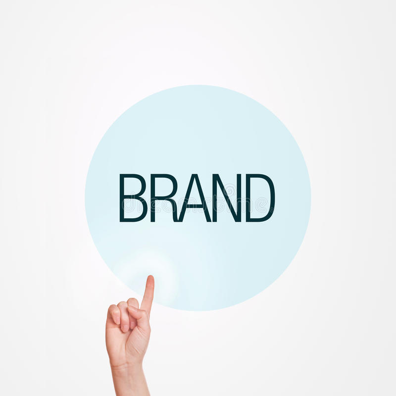 Brand Concept. Caucasian female hand pushing Brand button. Concept of brand awareness stock image