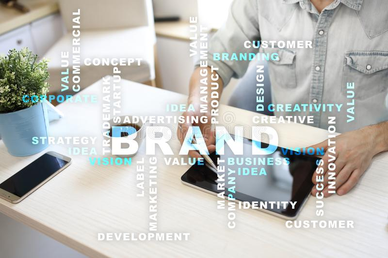 Brand concept on the virtual screen. Business concept. Words cloud. Brand concept on the virtual screen. Business concept. Words cloud stock photo