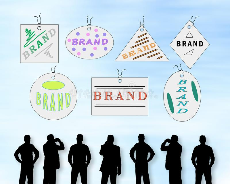 Brand concept on a wall. Silhouettes of men looking at a brand concept stock photography