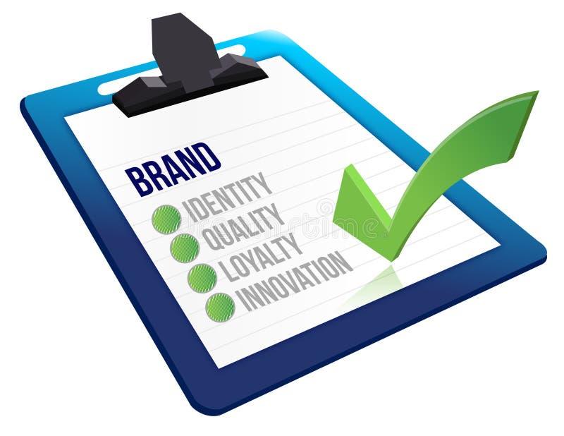 Brand core characteristics clipboard royalty free illustration
