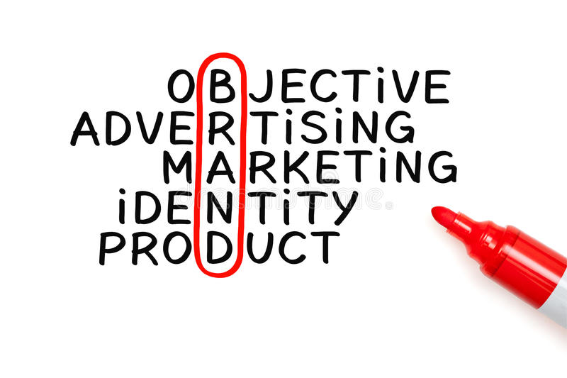 Brand Crossword Marker Concept. Brand crossword concept written with marker on white paper stock photo