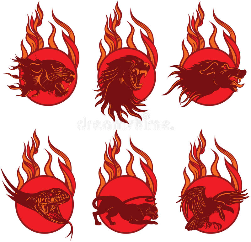 Brand Dierlijke Emblemen royalty-vrije illustratie