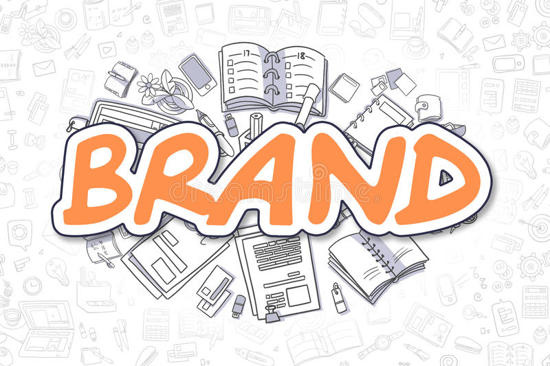 Brand - Doodle Orange Word. Business Concept. stock illustration