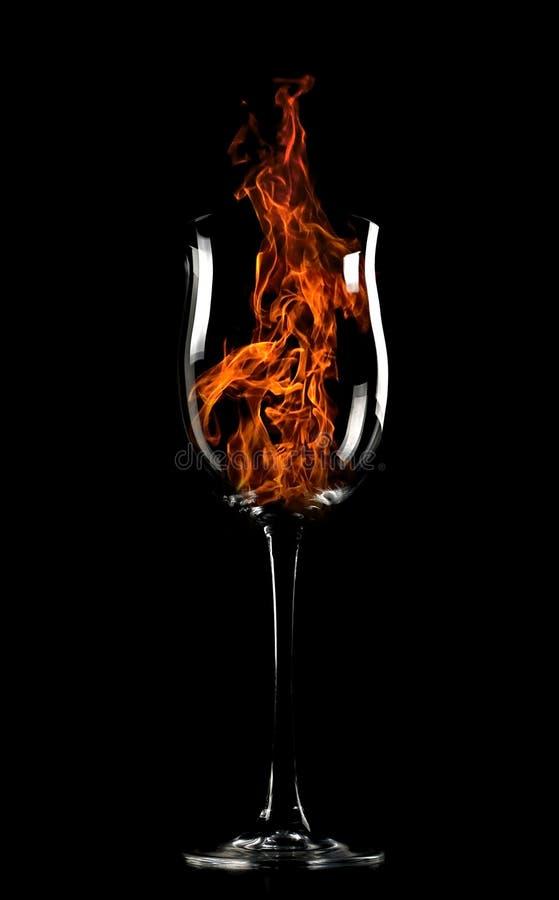 Brand in een glas stock afbeeldingen