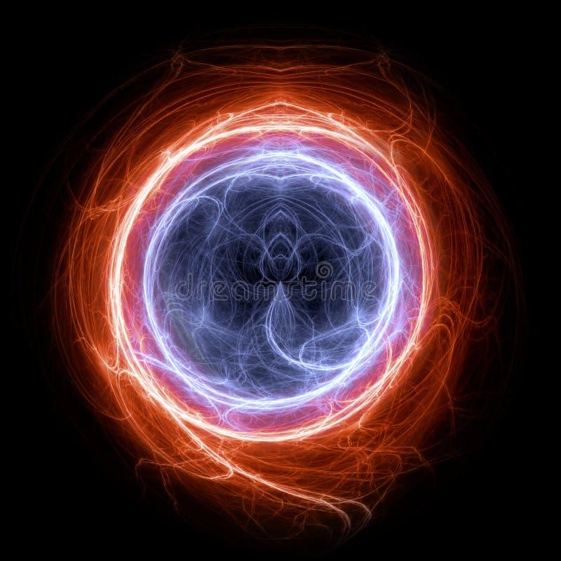 Brand en ijscirkelplasma en energie elektrobliksem vector illustratie