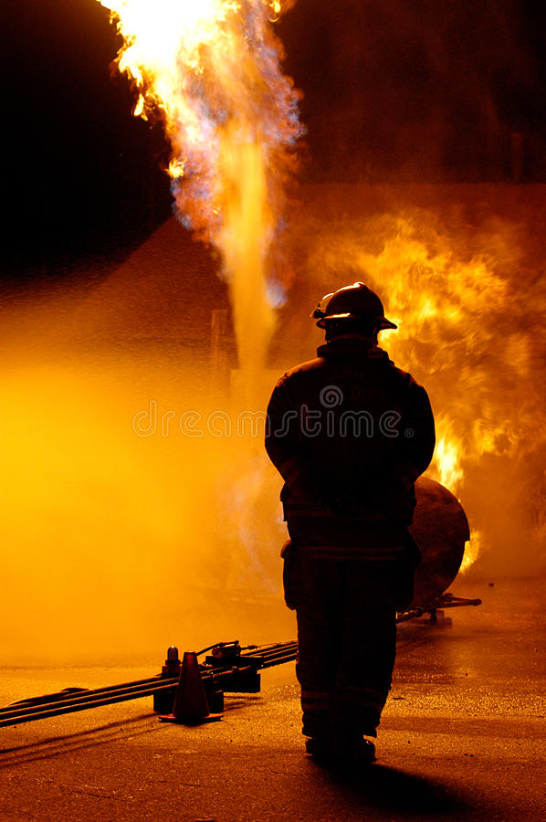 Brand en mens royalty-vrije stock foto's