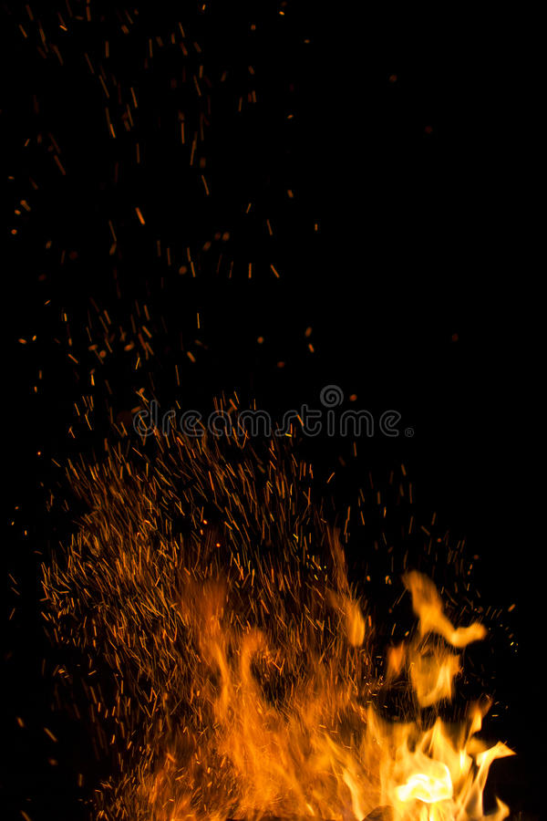 Brand en oranje vonken royalty-vrije stock afbeeldingen