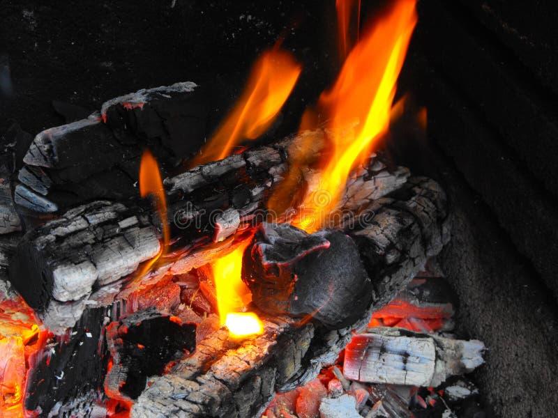 Brand en vlammen op een logboek royalty-vrije stock afbeeldingen