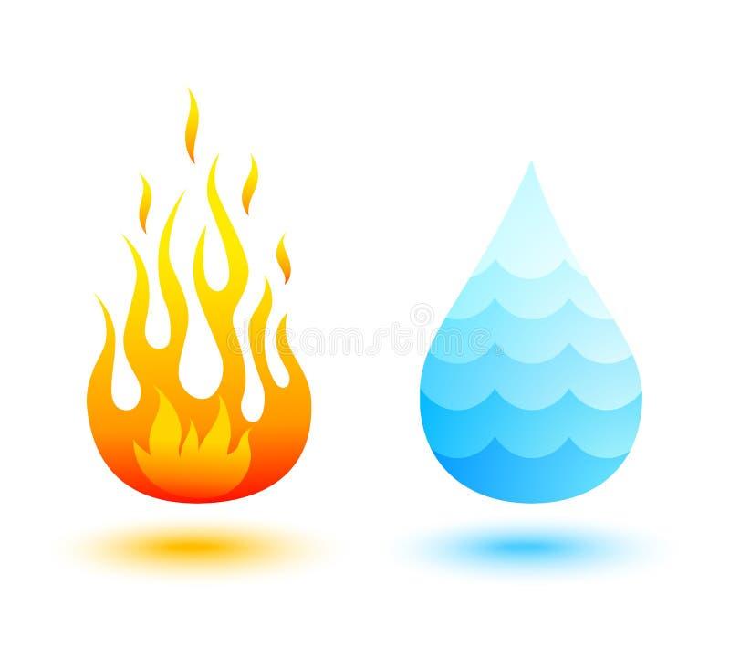 Brand en water stock illustratie
