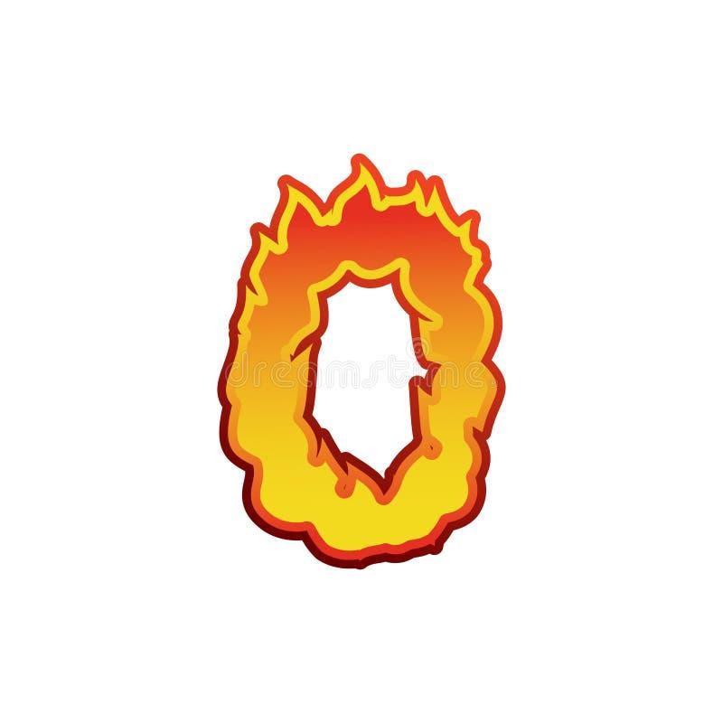 Brand för nummer 0 Flammastilsort noll Tatueringalfabettecken Fier royaltyfri illustrationer