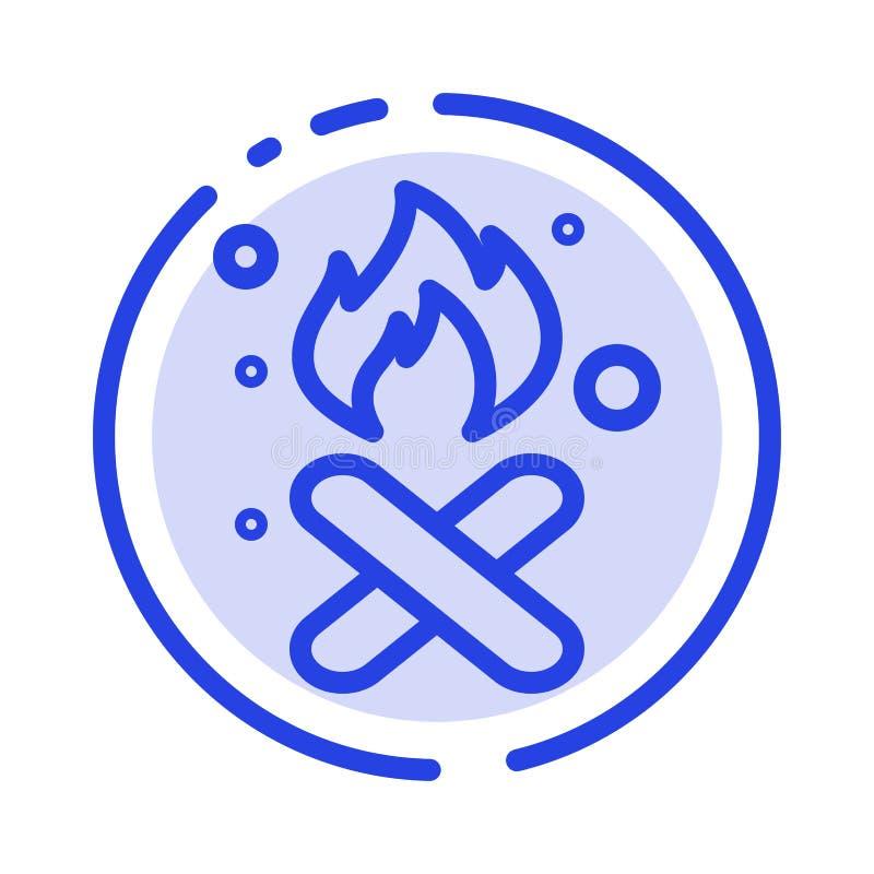 Brand, Feuer, Abfall, Verschmutzung, Linie Ikone der Rauch-blauen punktierten Linie stock abbildung