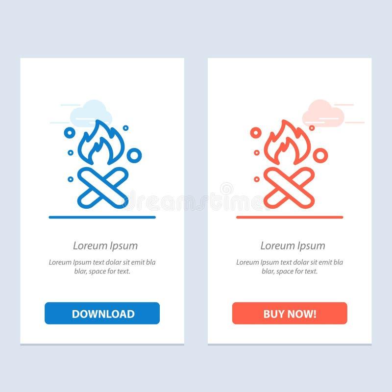 Brand, Feuer, Abfall, Verschmutzung, Rauch-Blau und rotes Download und Netz Widget-Karten-Schablone jetzt kaufen lizenzfreie abbildung