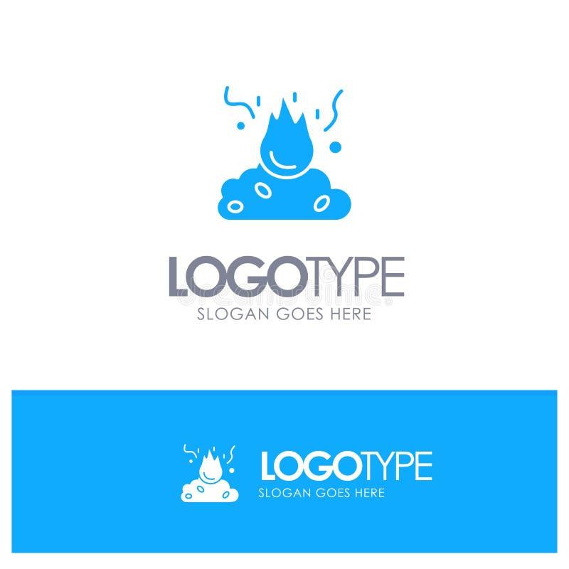 Brand, Feuer, Abfall, Verschmutzung, Rauch-blaues festes Logo mit Platz für Tagline vektor abbildung