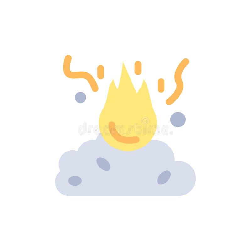 Brand, Feuer, Abfall, Verschmutzung, Rauch-flache Farbikone Vektorikonen-Fahne Schablone vektor abbildung