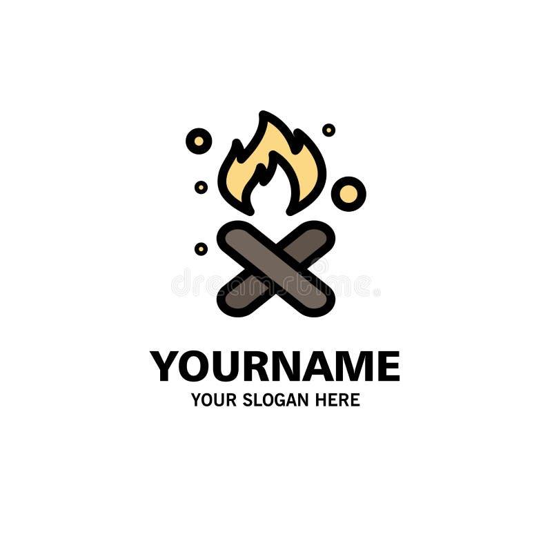 Brand, Feuer, Abfall, Verschmutzung, Rauch-Geschäft Logo Template flache Farbe vektor abbildung