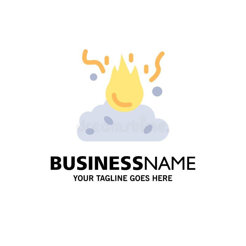 Brand, Feuer, Abfall, Verschmutzung, Rauch-Geschäft Logo Template flache Farbe lizenzfreie abbildung