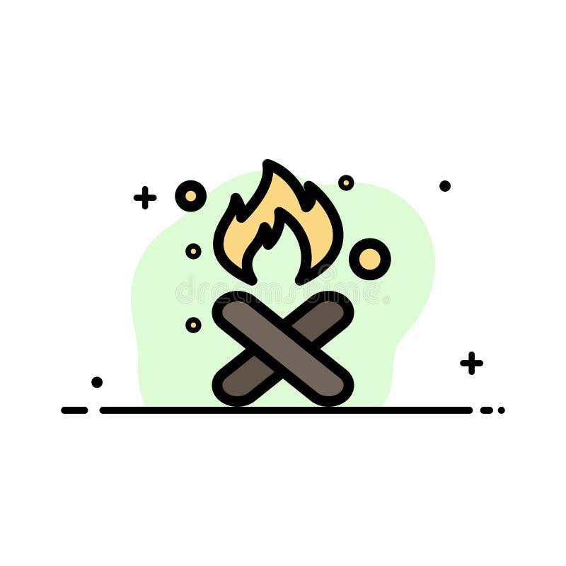 Brand, Feuer, Abfall, Verschmutzung, Rauch-Geschäfts-flache Linie füllte Ikonen-Vektor-Fahnen-Schablone vektor abbildung