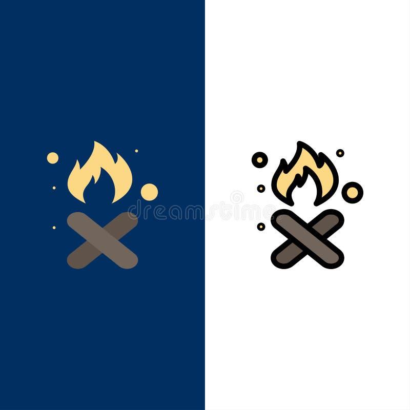 Brand, Feuer, Abfall, Verschmutzung, Rauch-Ikonen Ebene und Linie gefüllte Ikone stellten Vektor-blauen Hintergrund ein stock abbildung
