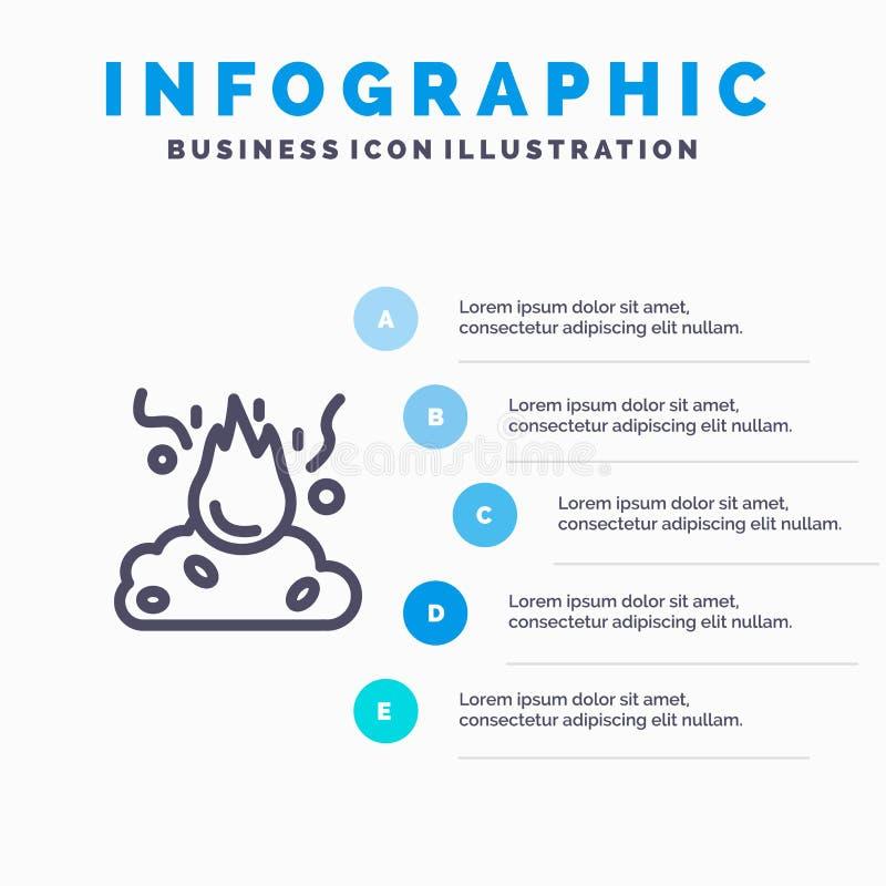 Brand, Feuer, Abfall, Verschmutzung, Rauch-Linie Ikone mit Hintergrund infographics Darstellung mit 5 Schritten lizenzfreie abbildung