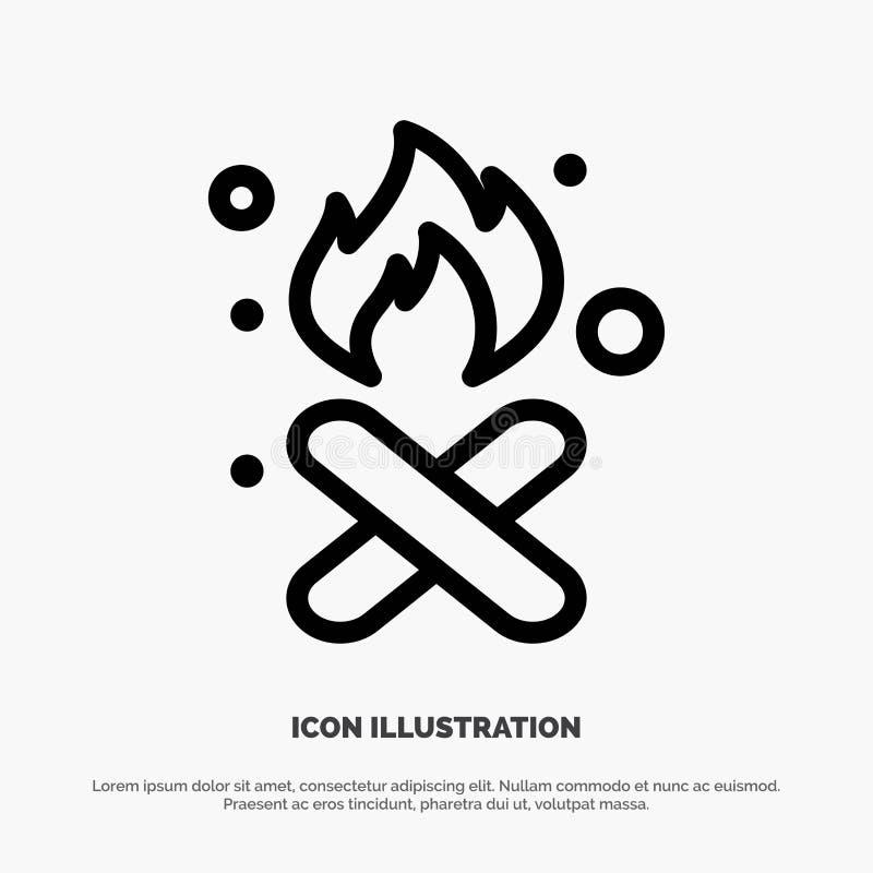 Brand, Feuer, Abfall, Verschmutzung, Rauch-Linie Ikonen-Vektor vektor abbildung