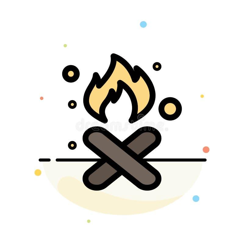 Brand, Feuer, Abfall, Verschmutzung, Rauch-Zusammenfassungs-flache Farbikonen-Schablone lizenzfreie abbildung