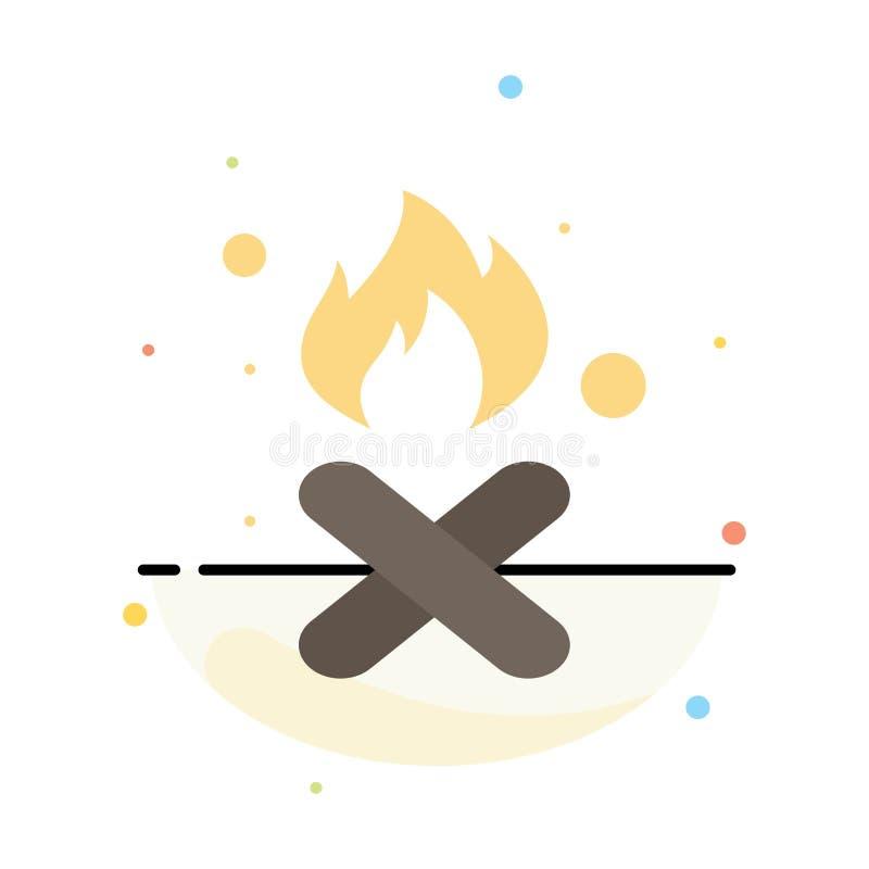 Brand, Feuer, Abfall, Verschmutzung, Rauch-Zusammenfassungs-flache Farbikonen-Schablone stock abbildung