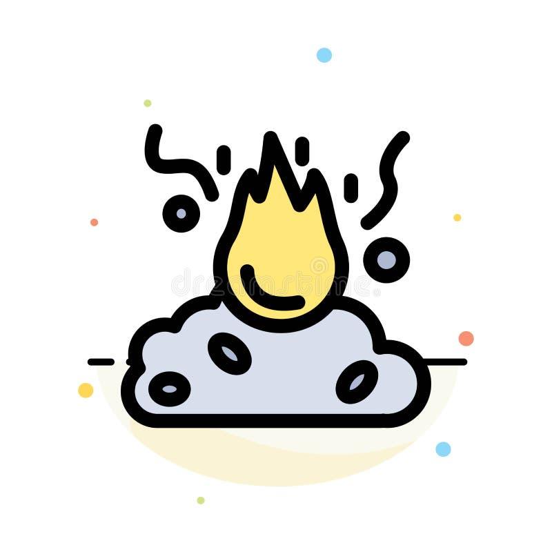 Brand, Feuer, Abfall, Verschmutzung, Rauch-Zusammenfassungs-flache Farbikonen-Schablone vektor abbildung