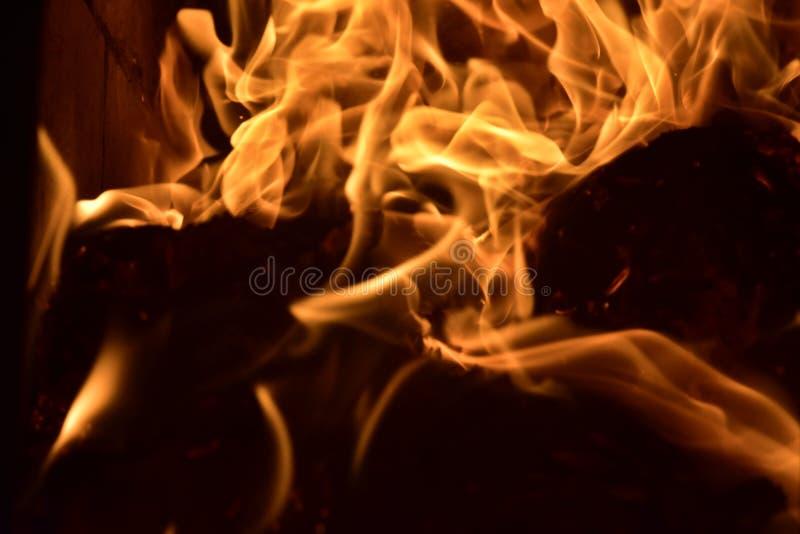 Brand flammar bränning i spisen Vedträförstörelse arkivbilder