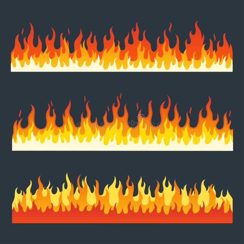 Brand flammar vektoruppsättningen vektor illustrationer