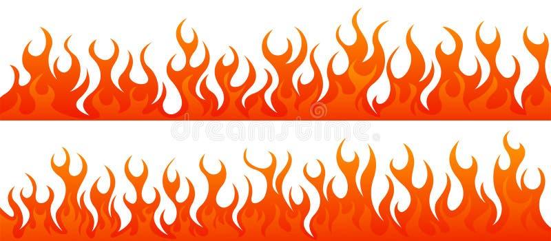 Brand flammar vektoruppsättningen stock illustrationer