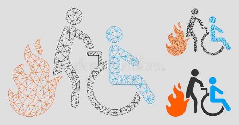 Brand Geduldige Evacuatie Vector het Mozaïekpictogram van Mesh Wire Frame Model en van de Driehoek vector illustratie