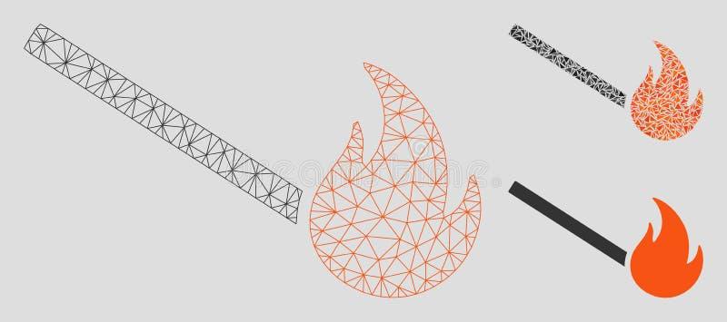 In brand gestoken Gelijke Vector het Mozaïekpictogram van Mesh Wire Frame Model en van de Driehoek vector illustratie
