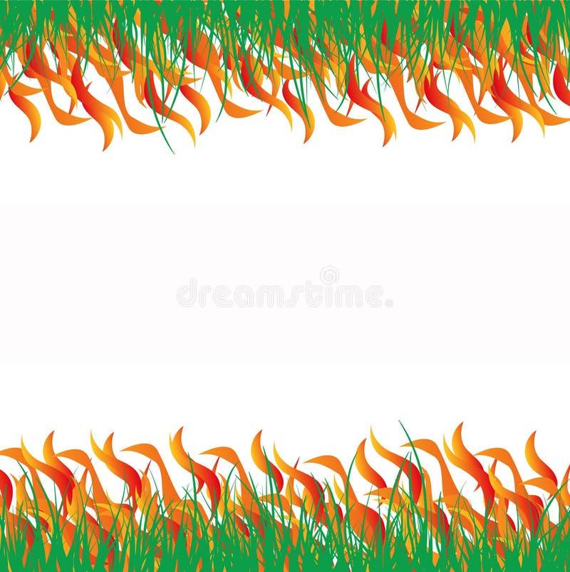 In brand gestoken gras abstarct stock illustratie