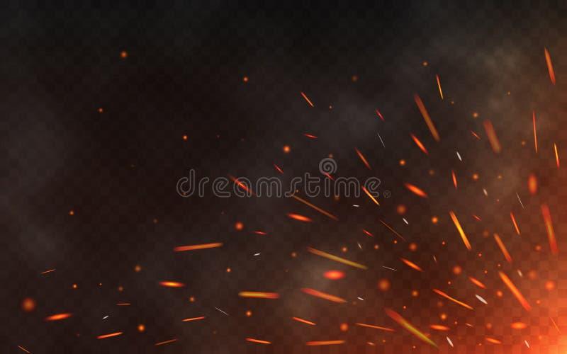 Brand gristrar att flyga upp på genomskinlig bakgrund Rök och glödande partiklar på svart Realistiska belysninggnistor med royaltyfri illustrationer