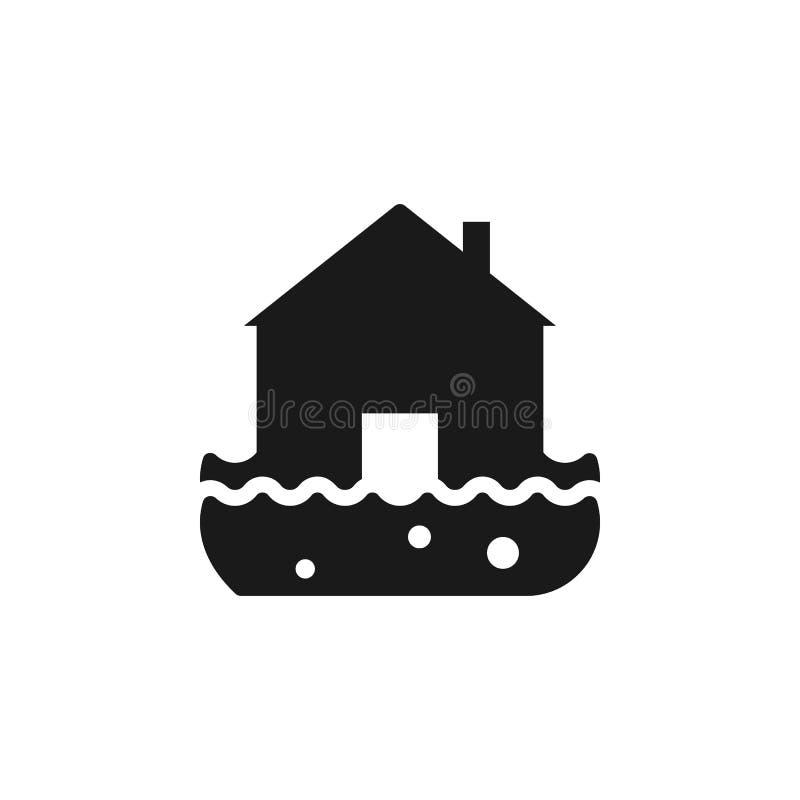 Brand, huis, huis, verzekering, het pictogram van het vloedwater - Vector De vectorillustratie van het verzekeringsconcept royalty-vrije illustratie
