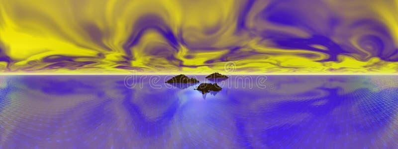 Brand i himlen som är panorama- vektor illustrationer