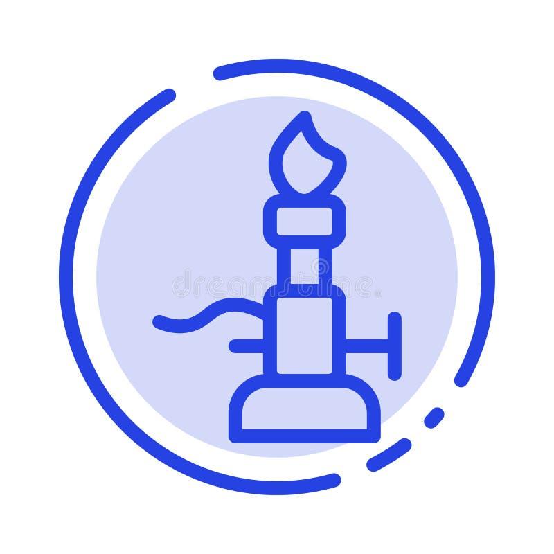 Brand, Laboratorium, Licht, Wetenschap, de Lijnpictogram van de Toorts Blauw Gestippelde Lijn stock illustratie