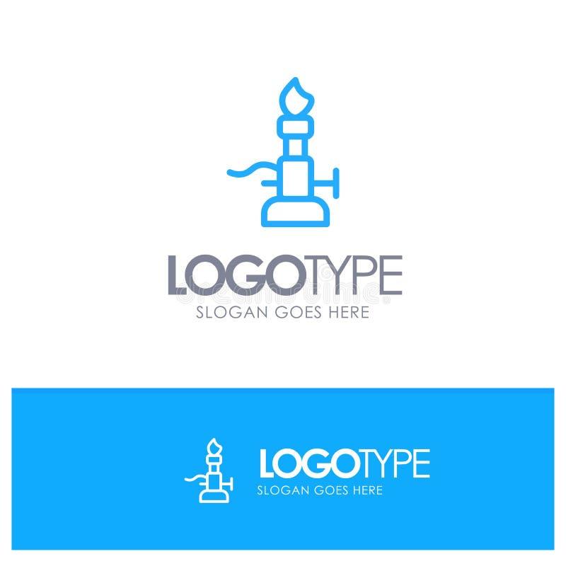 Brand, Laboratorium, Licht, Wetenschap, Toorts Blauw Overzicht Logo Place voor Tagline vector illustratie