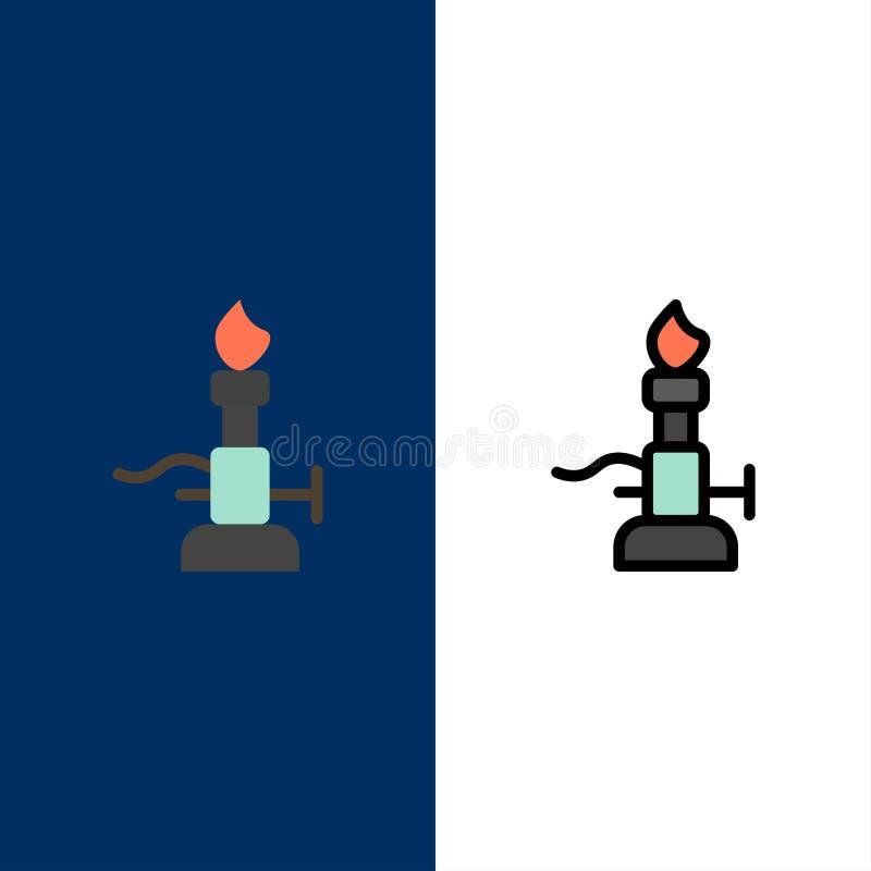 Brand, Laboratorium, Licht, Wetenschap, Toortspictogrammen Vlak en Lijn vulde Pictogram Vastgestelde Vector Blauwe Achtergrond vector illustratie