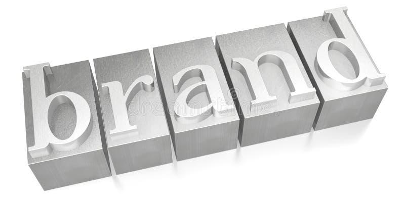 Brand - silver letterpress - 3D illustration stock images