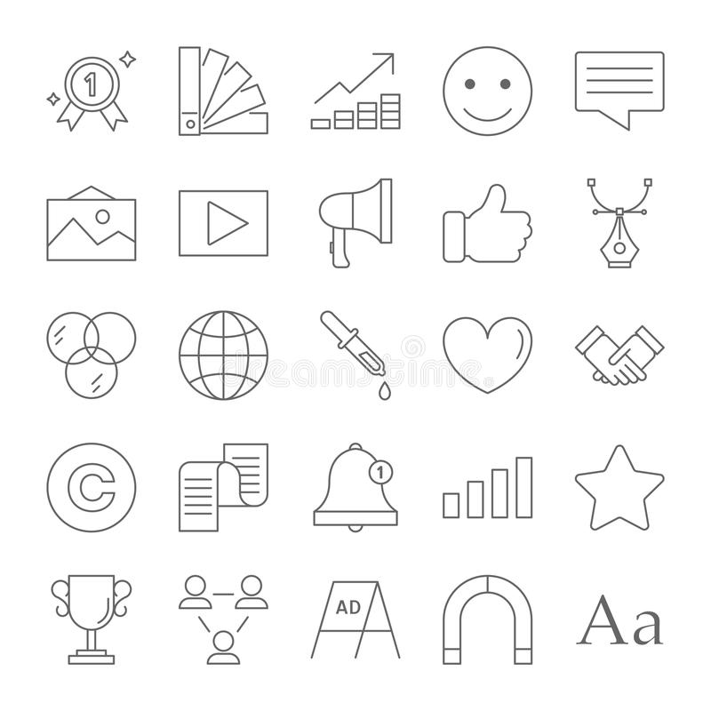 Brand line icon set stock illustration