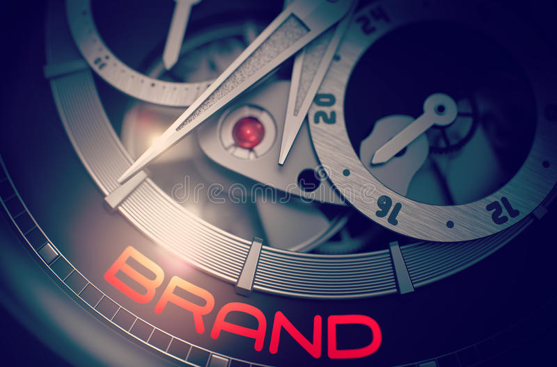 Brand on the Luxury Men Wristwatch Mechanism. 3D. stock photos