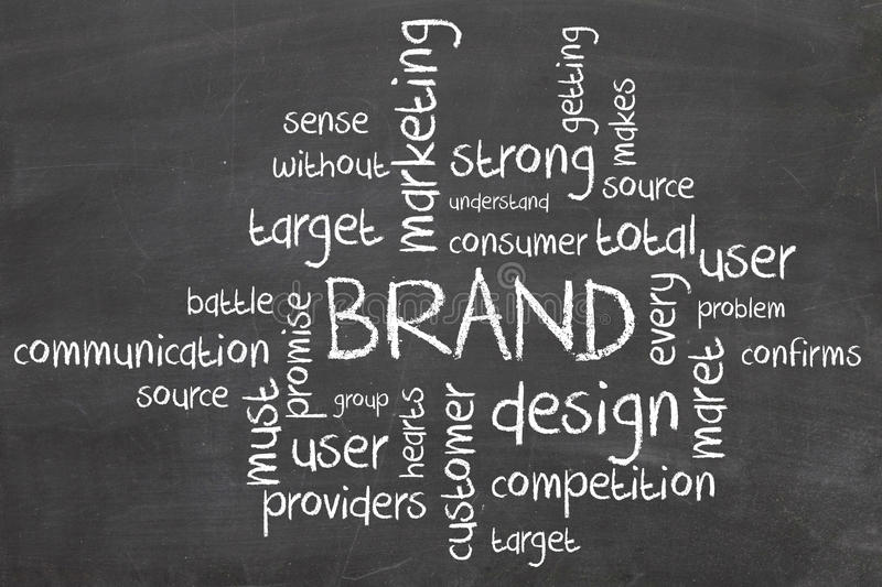 Brand marketing wordcloud. On chalkboard royalty free stock photos