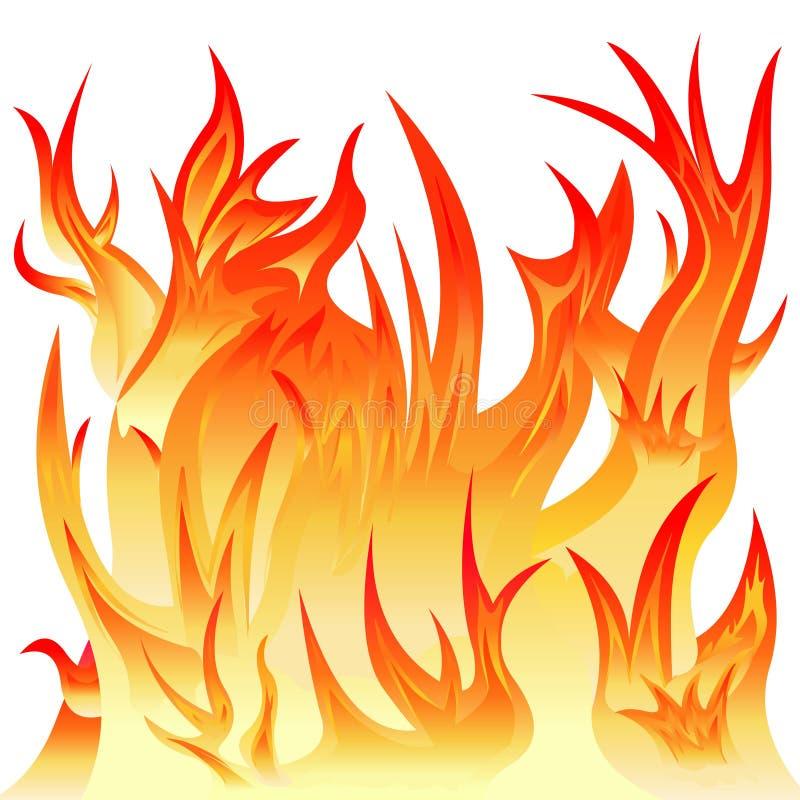 Brand med röda och gula flammor på en vit bakgrund stock illustrationer