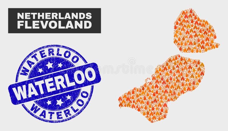 Brand-Mosaik-Flevoland-Provinz-Karte und Bedrängnis-Waterloo-Stempelsiegel lizenzfreie abbildung