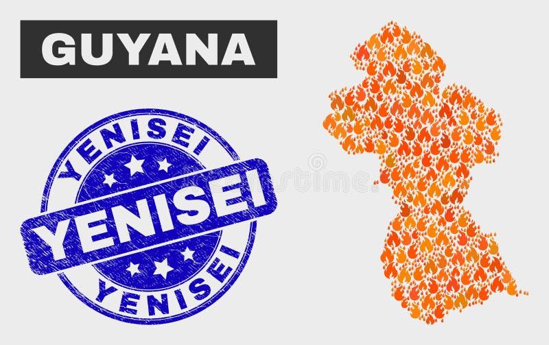 Brand-Mosaik-Guyana-Karte und Schmutz Yenisei-Wasserzeichen stock abbildung