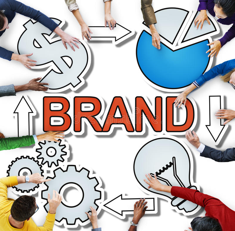 Brand Name Trademark Identity Branding Diverse People Concept royalty free stock images