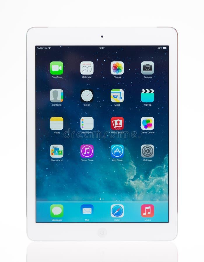 Brand new Apple iPad Air. KIEV, UKRAINE - MAY 20, 2014: Studio shot of brand new white Apple iPad Air, the most advanced digital tablet in part of the iPad line royalty free stock image